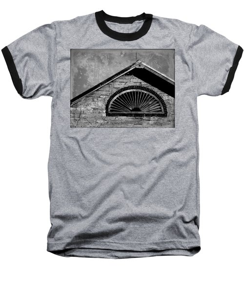 Baseball T-Shirt featuring the photograph Barn Detail - Black And White by Joseph Skompski
