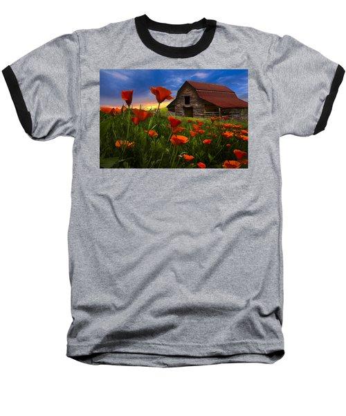 Barn In Poppies Baseball T-Shirt
