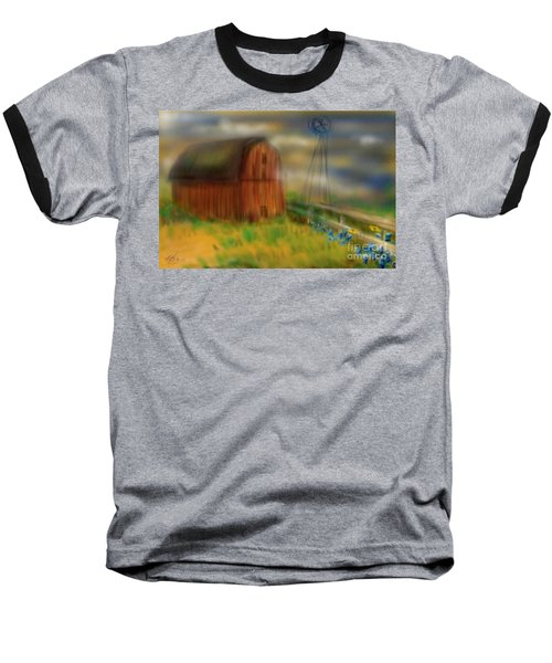 Baseball T-Shirt featuring the painting Barn by Marisela Mungia