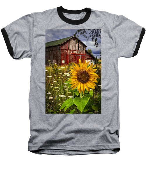 Barn Meadow Flowers Baseball T-Shirt