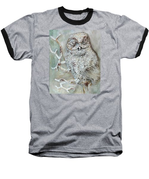 Barn Owl Baseball T-Shirt by Enzie Shahmiri