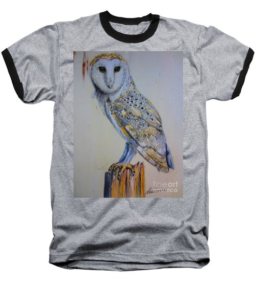Baseball T-Shirt featuring the painting Barn Owl by Laurianna Taylor