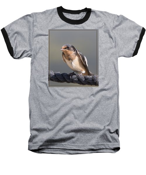 Baseball T-Shirt featuring the photograph Barn Swallow On Rope I by Patti Deters