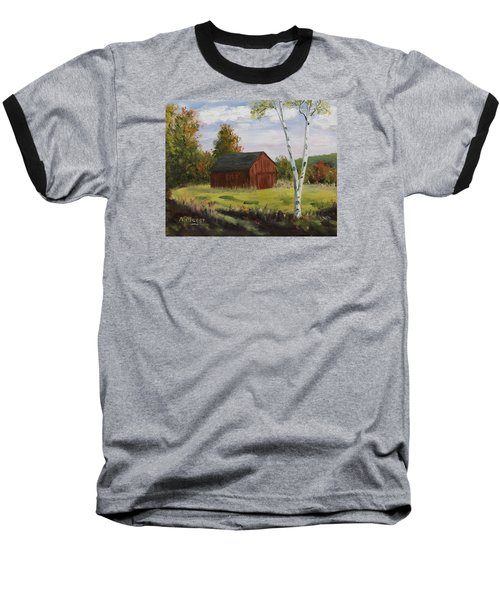 Barn With Lone Birch Baseball T-Shirt