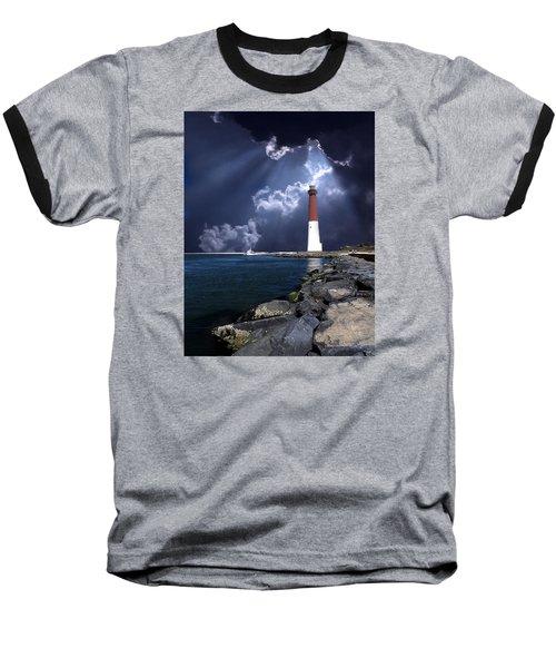 Barnegat Inlet Lighthouse Nj Baseball T-Shirt by Skip Willits
