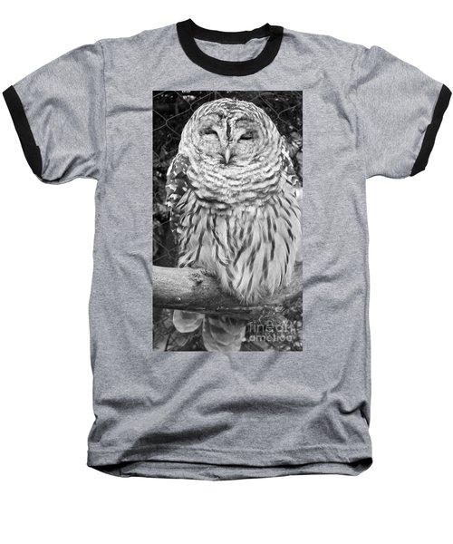 Barred Owl In Black And White Baseball T-Shirt