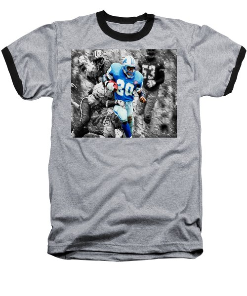 Barry Sanders Breaking Out Baseball T-Shirt by Brian Reaves