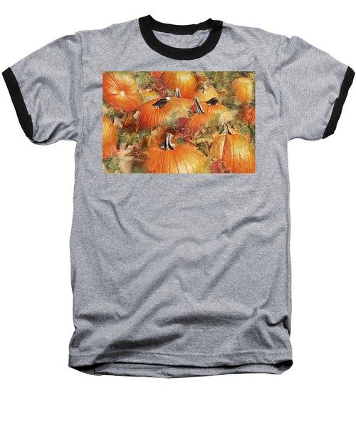 Bask In The Pumpkin Patch  Baseball T-Shirt by Natalie Ortiz