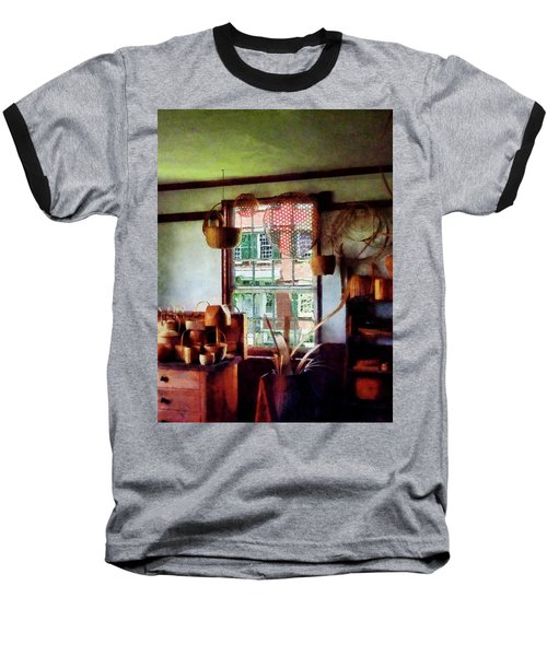 Baseball T-Shirt featuring the photograph Basket Shop by Susan Savad