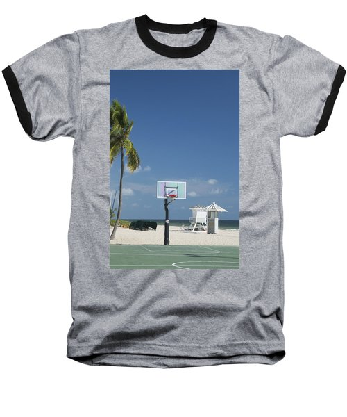 Basketball Goal On The Beach Baseball T-Shirt