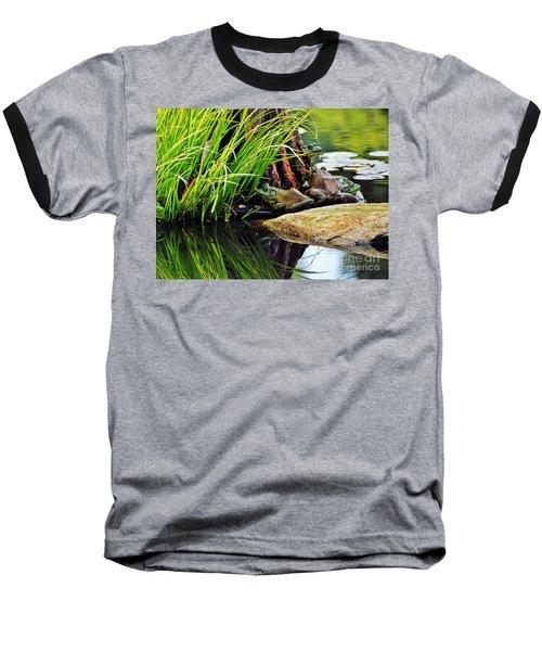 Basking Bullfrogs Baseball T-Shirt by Angela Murray