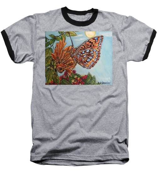 Baseball T-Shirt featuring the painting Basking In The Warmth Of The Sun In A Tropical Paradise Painting by Kimberlee Baxter