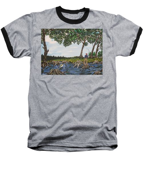 Bass Fishing In The Stumps Baseball T-Shirt by Jeffrey Koss