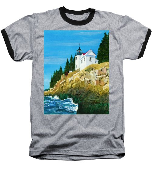 Bass Harbor Lighthouse Baseball T-Shirt by Mike Robles