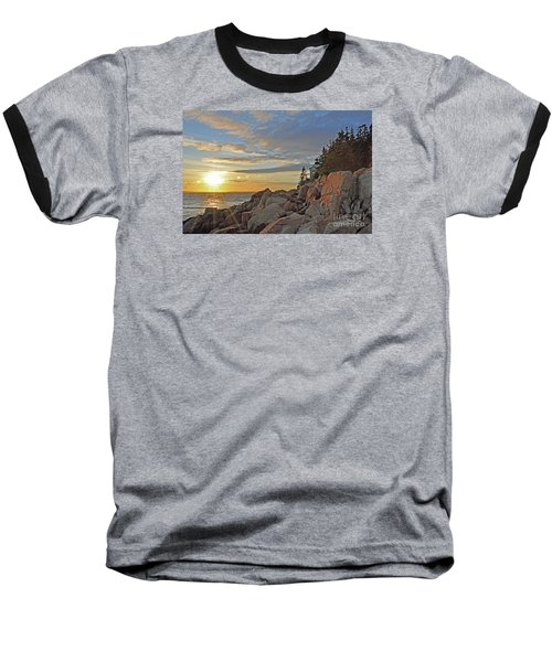 Baseball T-Shirt featuring the photograph Bass Harbor Lighthouse Sunset Landscape by Glenn Gordon