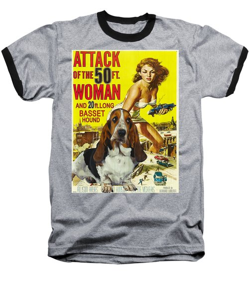 Basset Hound Art Canvas Print - Attack Of The 50ft Woman Movie Poster Baseball T-Shirt