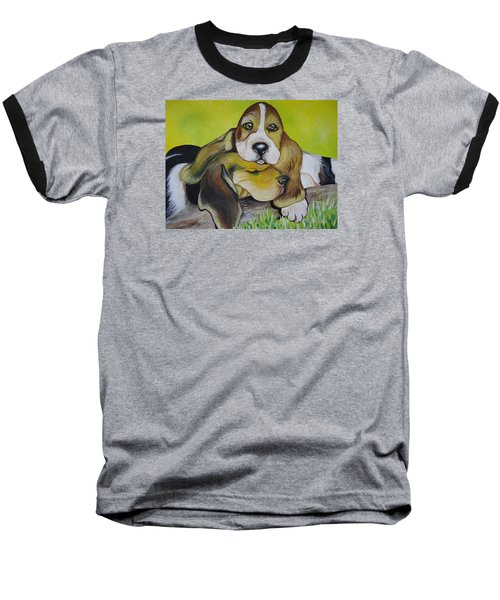 Baseball T-Shirt featuring the painting Bassett Hound Pups by Leslie Manley