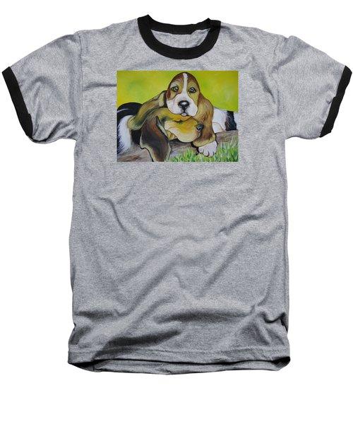 Bassett Hound Pups Baseball T-Shirt