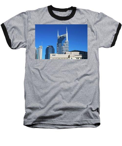 Batman Building And Nashville Skyline Baseball T-Shirt by Dan Sproul