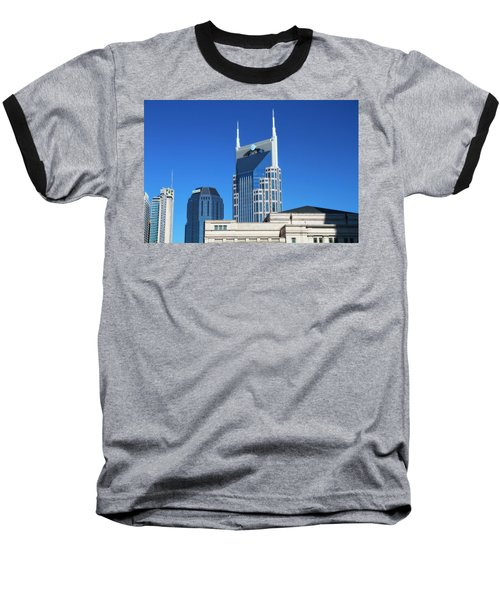 Batman Building And Nashville Skyline Baseball T-Shirt