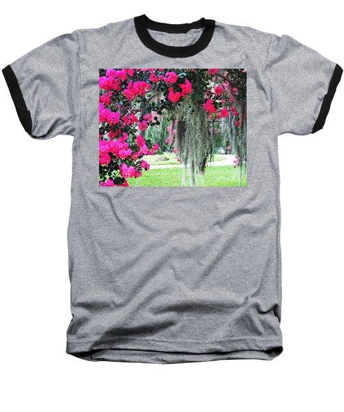 Baton Rouge Louisiana Crepe Myrtle And Moss At Capitol Park Baseball T-Shirt