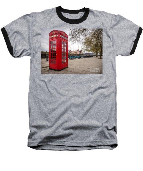 Battersea Phone Box Baseball T-Shirt by Matt Malloy