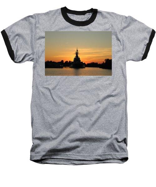 Baseball T-Shirt featuring the photograph Battleship At Sunset by Cynthia Guinn