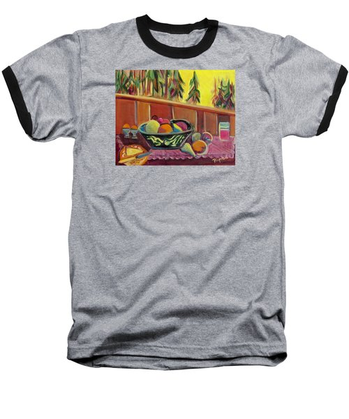 Baseball T-Shirt featuring the painting Bavarian Breakfast With Strawberry Milk by Betty Pieper