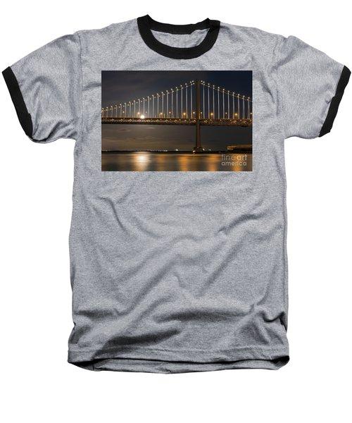 Bay Bridge Moon Rising Baseball T-Shirt