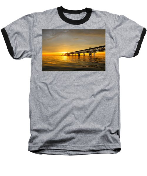Bay Bridge Sunset Glow Baseball T-Shirt