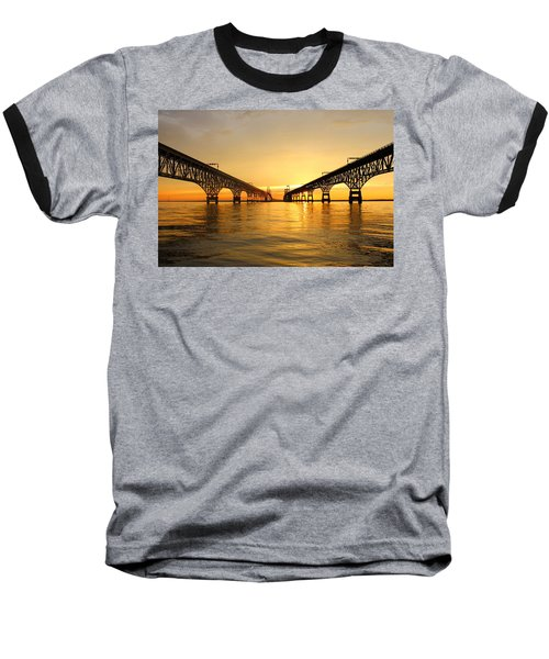 Bay Bridge Sunset Baseball T-Shirt