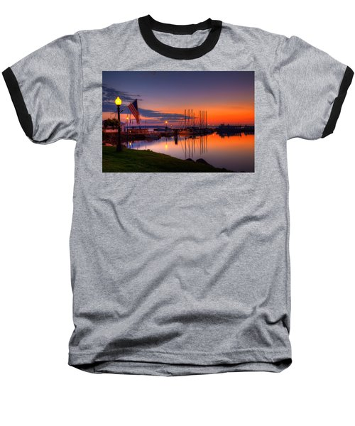 Bayfield Wisconsin Fire In The Sky Over The Harbor Baseball T-Shirt