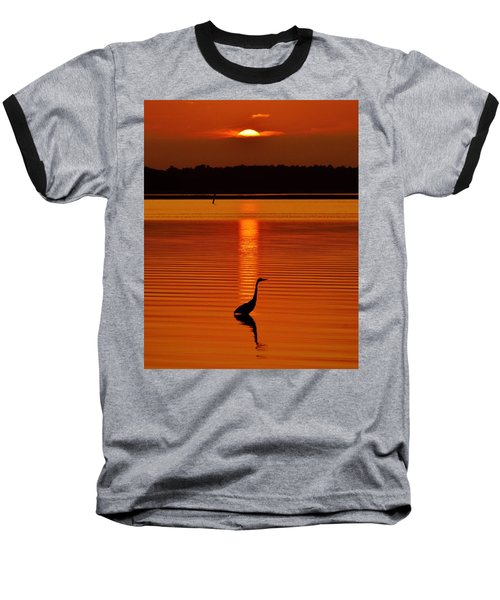 Bayside Ripples - A Heron Takes An Evening Stroll As The Sun Sets Behind The Clouds On The Bay Baseball T-Shirt