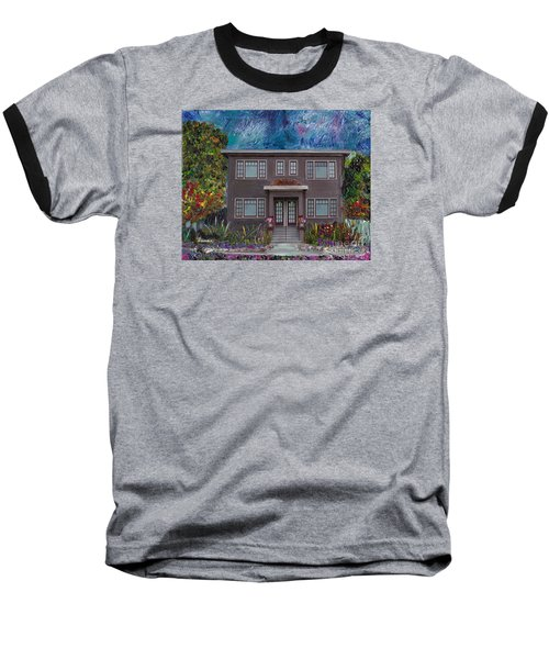 Baseball T-Shirt featuring the mixed media Alameda Bayview 1926 - Colonial Revival by Linda Weinstock