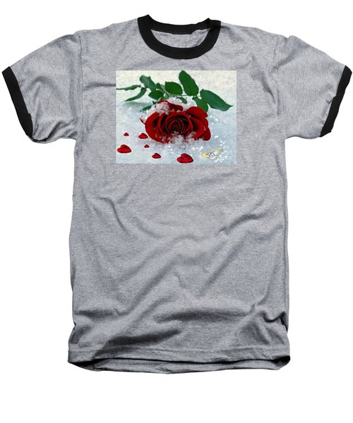 Baseball T-Shirt featuring the mixed media Be Mine by Morag Bates
