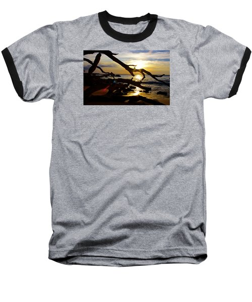 Beach 69 Hawaii At Sunset Baseball T-Shirt by Venetia Featherstone-Witty