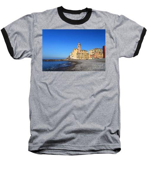Baseball T-Shirt featuring the photograph beach and church in Camogli by Antonio Scarpi