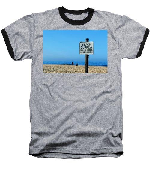 Beach Curfew Baseball T-Shirt by Tammy Espino