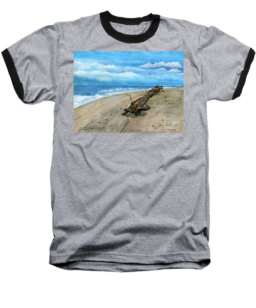 Baseball T-Shirt featuring the painting Beach Drift Wood by Melly Terpening
