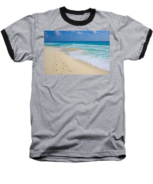 Beach Footprints Baseball T-Shirt