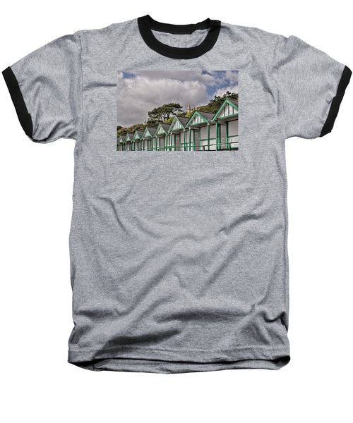 Beach Huts Langland Bay Swansea 3 Baseball T-Shirt by Steve Purnell