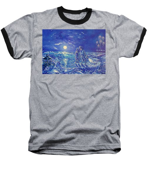 Beach Lites Baseball T-Shirt by Gail Butler