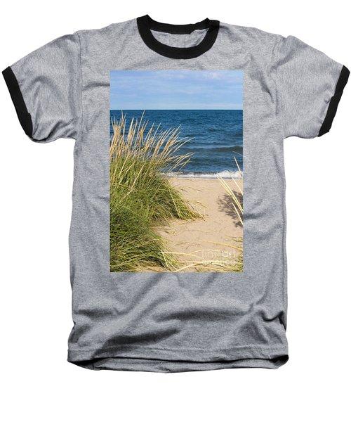 Beach Path Baseball T-Shirt by Barbara McMahon