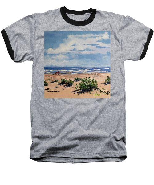 Beach Scene On Galveston Island Baseball T-Shirt