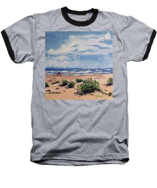 Beach Scene On Galveston Island Baseball T-Shirt