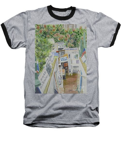 Baseball T-Shirt featuring the painting Beach Signs by Carol Flagg