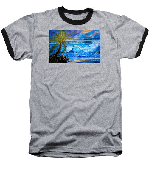 Baseball T-Shirt featuring the painting Beach Sunset In Hawaii by Jenny Lee