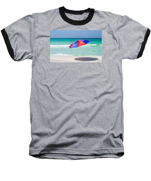 Beach Umbrella Baseball T-Shirt by Shelby  Young