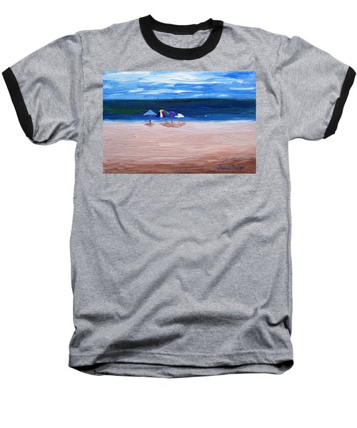 Baseball T-Shirt featuring the painting Beach Umbrellas by Jamie Frier