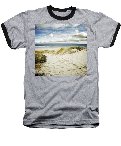 Beach View Baseball T-Shirt by Les Cunliffe